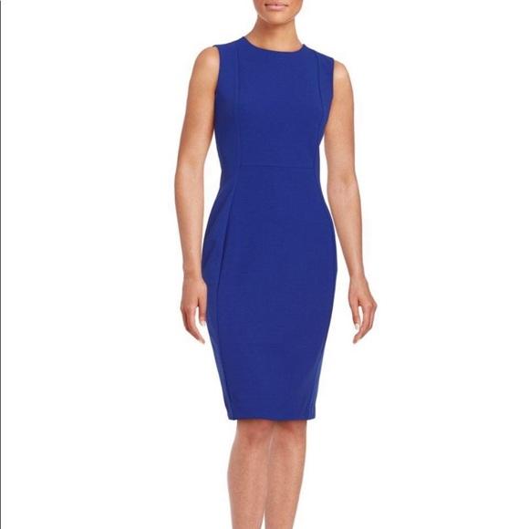 Calvin Klein Dresses & Skirts - Calvin Klein blue sheat dress with gold zipper